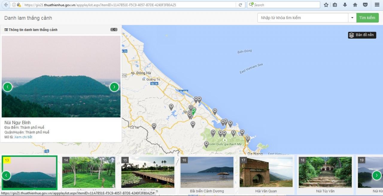 Một phần ứng dụng GISHue mà UBND tỉnh Thừa Thiên Huế đang triển khai